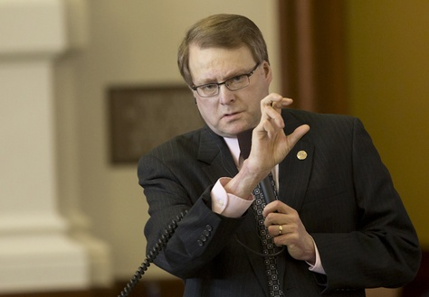 Sen. Brian Birdwell R-Granbury listens during debate of his campus carry bill SB #11 on March 18th, 2015