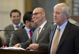 State Rep. Denis Bonnen at the front microphone while taking amendments on HB11 border security bill March 18, 2015.