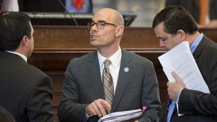 Ways and Means chairman Re. Dennis Bonnen, R-Angleton, talks over amendments to HB11 the border security bill debated on Mar. 1, 2015.