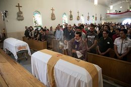The mass for brothers Elmer García Archuleta and Edgar Ivan García on March 27, 2015, in Fabens, Texas. The two brothers were kidnapped and killed in December of 2014 in the Valley of Juárez, Mexico.