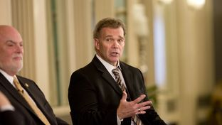State Rep. Joe Pickett, D-El Paso, right, at a Texas Tribune event on April 7, 2015.