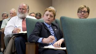 Student Jacob Hale listens to testimony on HB 1242 a Donna Howard-sponsored bill that would change the name of Confederate Heroes Day on April 14, 2015.