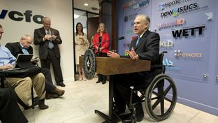 Gov.Greg Abbott outlines his plan to  reduce the Texas business franchise tax at a press conference at vcfo on April 15, 2015