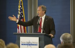 Texas Attorney General Ken Paxton speaks at the grand opening of the Texas Public Policy Foundation's new Austin building on April 21, 2015.