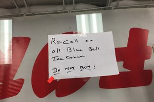 Warning on ice cream case in Austin convenience store warning customers not to buy Blue Bell products, on Wednesday, April 22, 2015.
