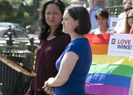 Cleo DeLeon (left) and Nicole Dimetman, the Texas marriage plantiffs, during press conference on June 29, 2015 at Texas Capitol days after the SCOTUS ruling on marriage equality
