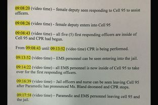 Waller Co. Sheriff's Office timeline of discovery of Sandra Bland's body and subsequent EMS response.