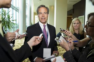 House Speaker Joe Straus holds a press briefing at the Omni Hotel, Fort Worth on June 8, 2012.