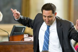 State Sen. Glenn Hegar, R-Katy, reacts to learning he picked a four-year term in the Senate term lottery on Jan. 23, 2013.