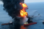 The Deepwater Horizon fire in 2010.