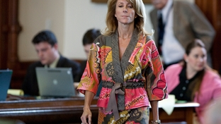 Sen. Wendy Davis, D-Fort Worth, during her filibuster at the end of the the 82nd legislature on Sunday, June 3, 2011. The action, in opposition to $4 billion in cuts to education, tipped lawmakers into an immediate special session.