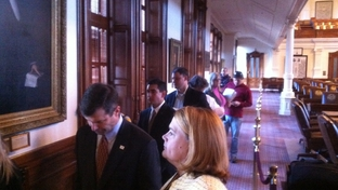 Newly-elected state Rep. David Simpson at the head of the line to prefile bills on Nov. 8, 2010.