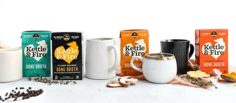 Kettle & Fire cartons and mugs