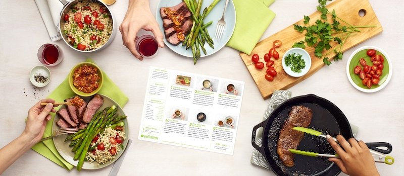 Picture of a recipe card on a table surrounded by a cutting board, cast iron pan, and cups of wine