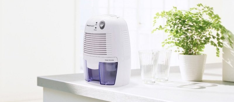 Small dehumidifier sitting on kitchen counter