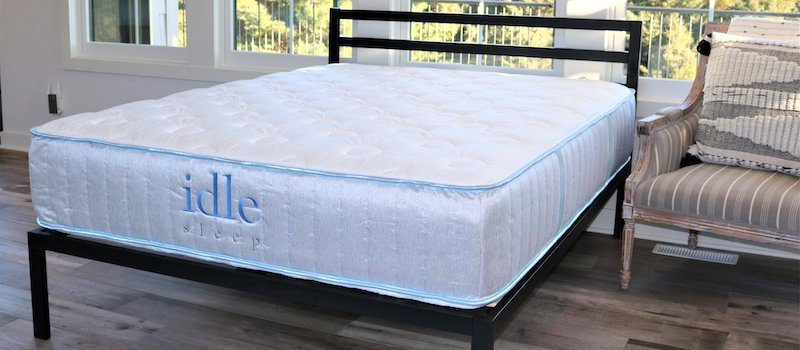 Photo of Idle Sleep hybrid mattress on foundation