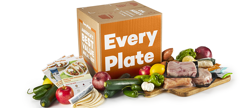 EveryPlate box surrounded by veggies and protein ingredients