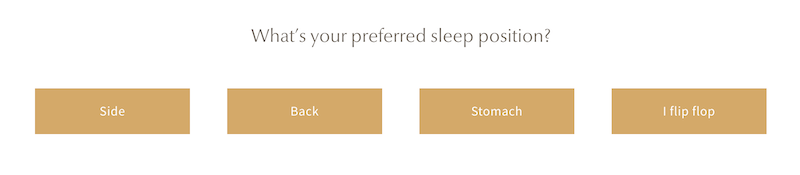 Screenshot of Saatva sleep quiz