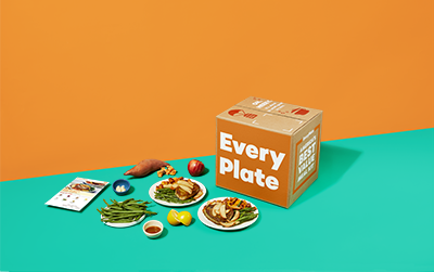 EveryPlate box next to ingredients