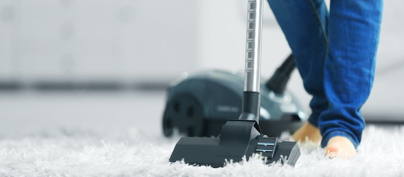 Person vacuums white high-pile carpeting with a canister vacuum