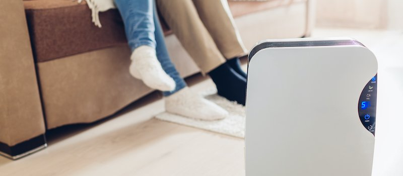 Dehumidifier on floor of home next to couch