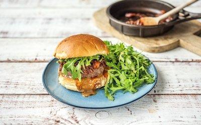 HelloFresh's burger recipe with a side of arugula salad