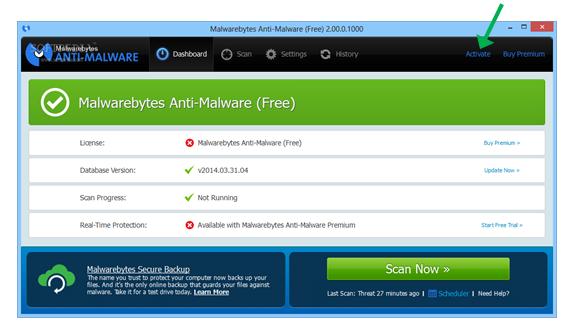 activate malwarebytes anti-malware premium