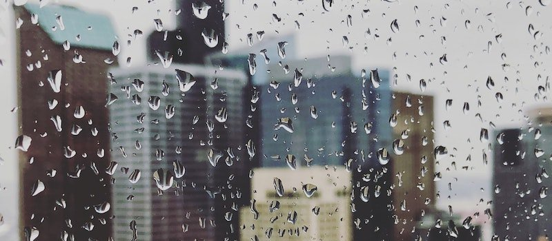 Photo of water droplets on a window