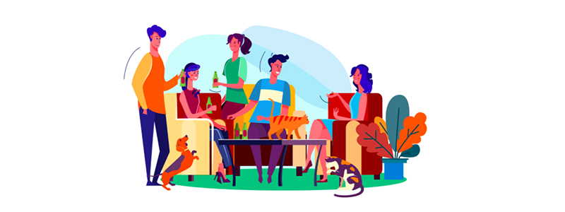 Cartoon of family enjoying a party surrounded by their pets