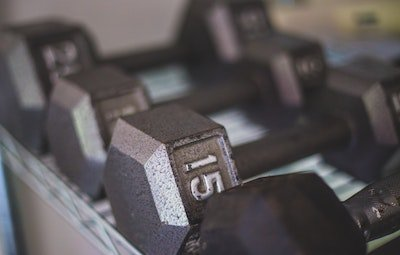 Close-up photo of dumbbells