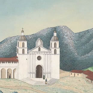 Santa Barbara mission in the countryside
