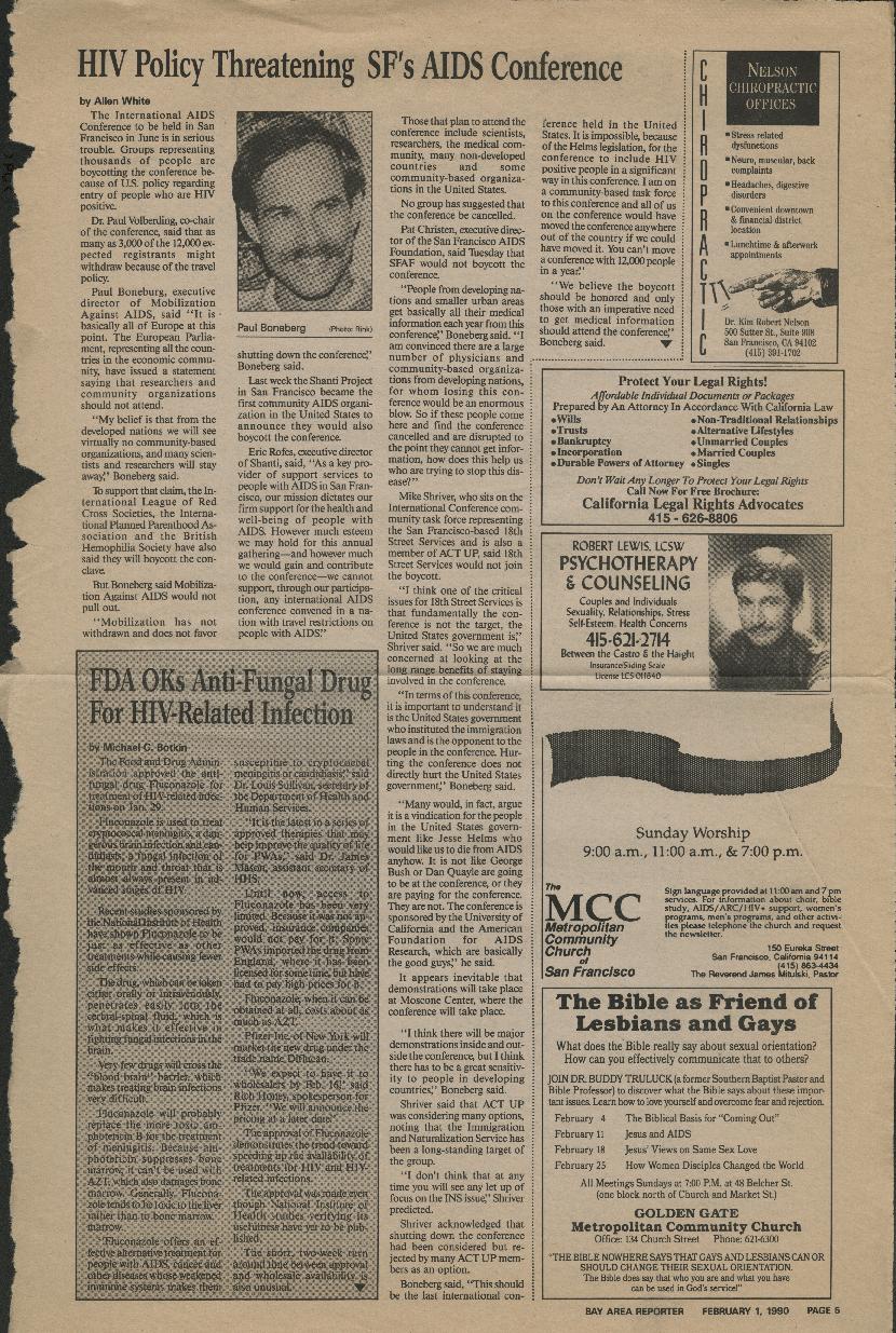 Programs: 1990 Sixth International AIDS Conference - Boycott