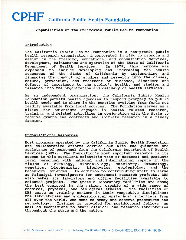 Capabilities of the California Public Health Foundation