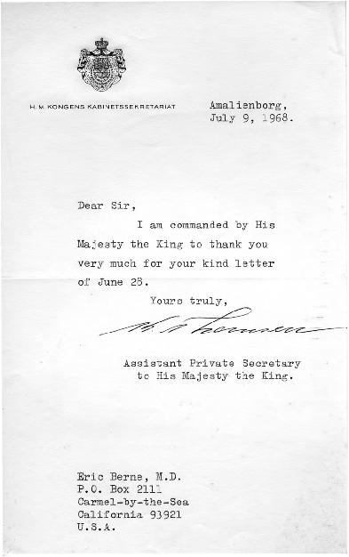 Assistant Private Secretary to the King of Denmark letter to Eric Berne, 1968-07-09