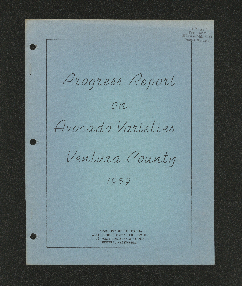 Progress Report on Avocado Varieties Ventura County 1959