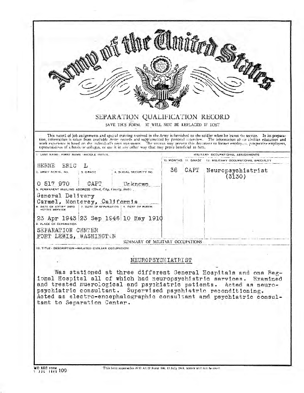 Army of the United States Separation Qualification Record for Eric Berne