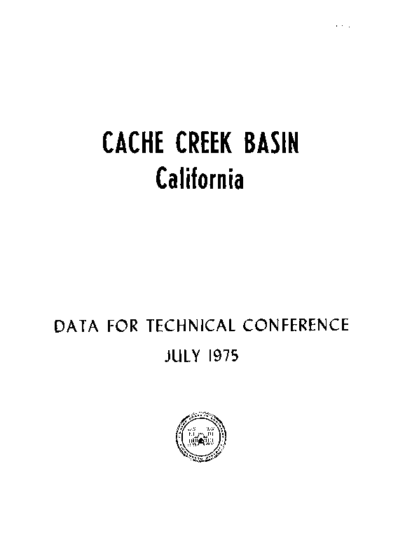 Cache Creek Basin, Data for Technical Conference
