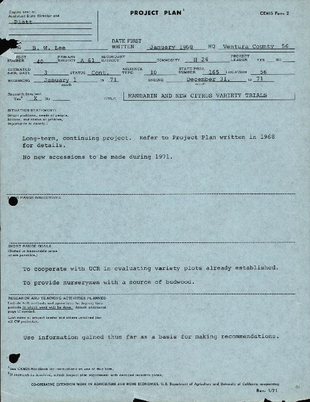 Project Plans 1971 (Folder 1/2)