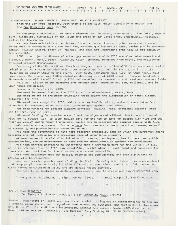 Newsletter, National Coalition of Gay STD Services (vol. 6:2)
