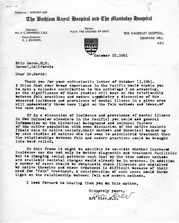 Ari Kiev letter to Eric Berne, 1961-10-22
