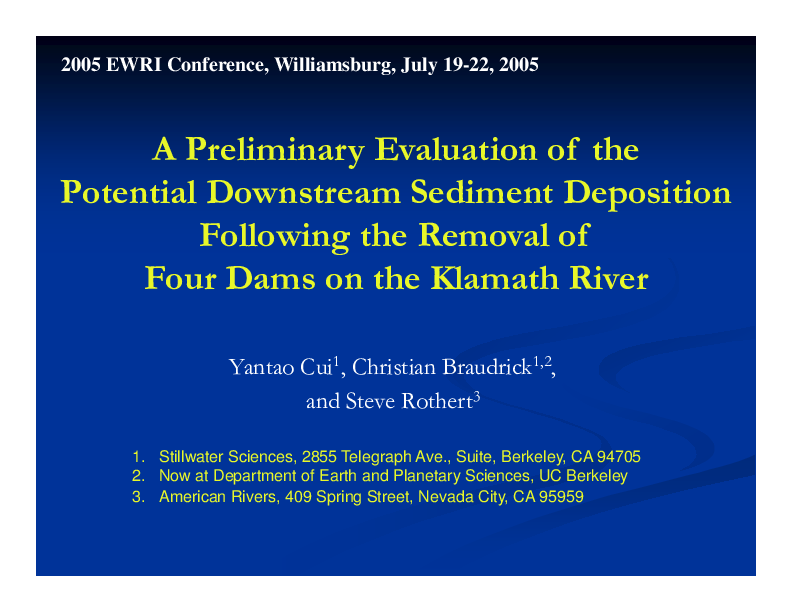 A Preliminary Evaluation of the Potential Downstream Sediment Deposition Following the Removal of Four Dams on the Klamath River