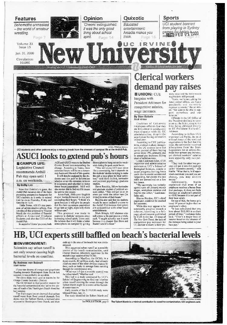 New University (Irvine, Calif.), Vol. 33, No. 15