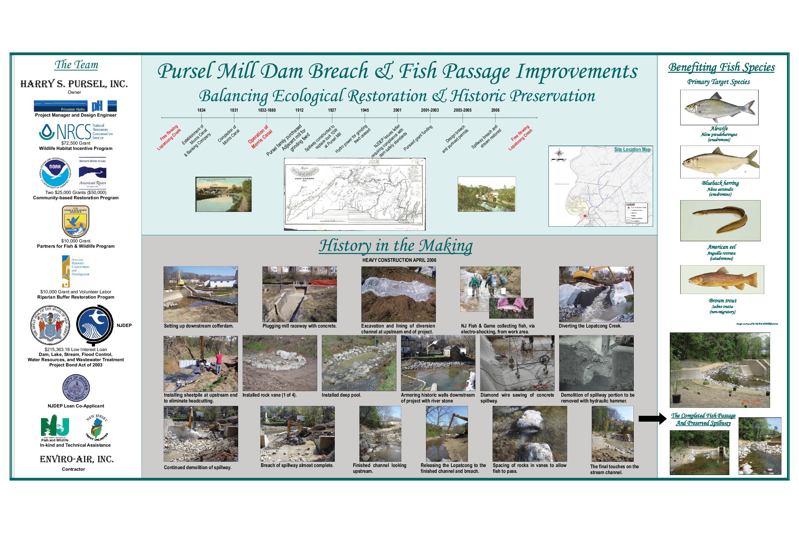 Pursel Mill Dam Breach & Fish Passage Improvements: Balancing Ecological Restoration & Historical Preservation