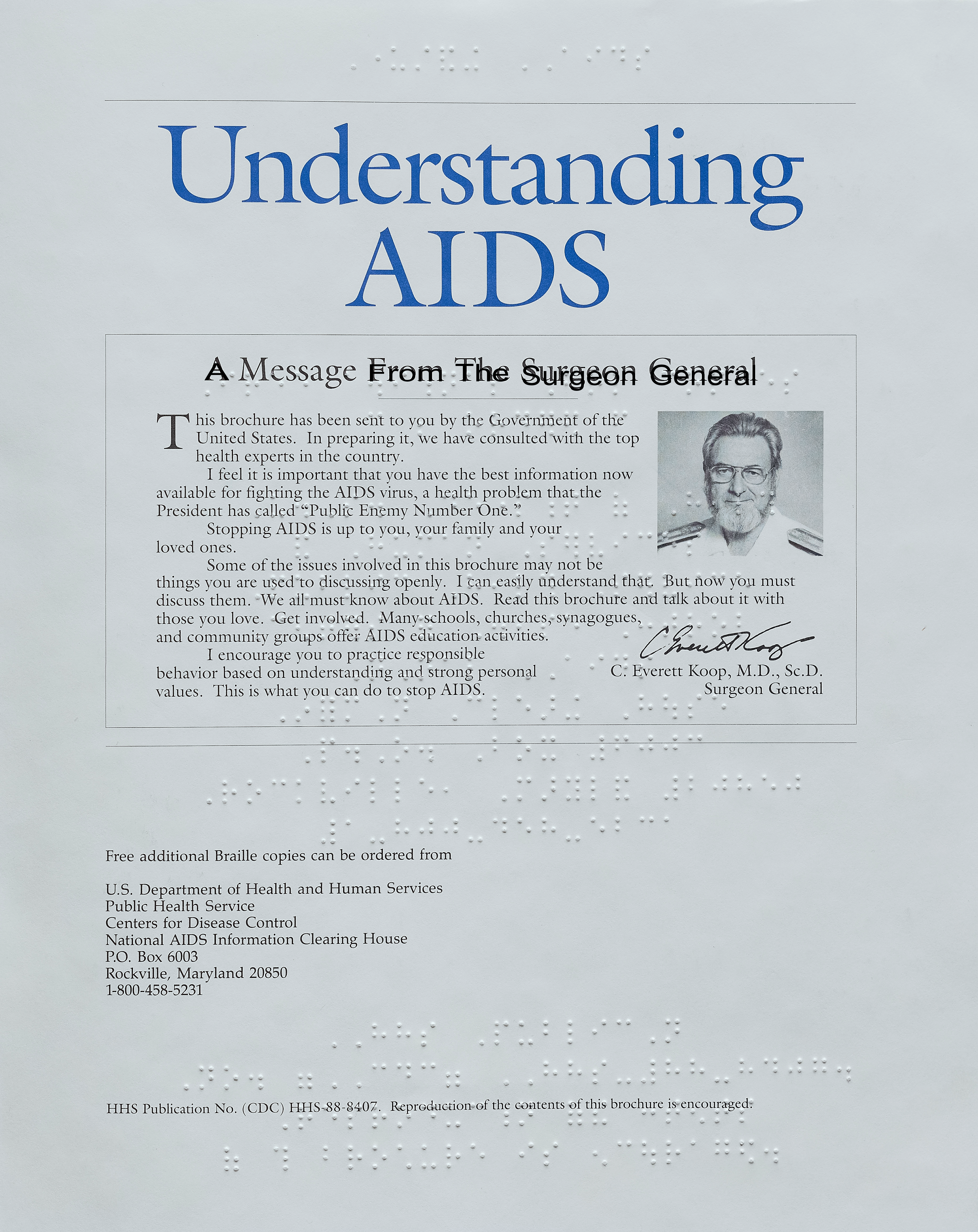 """""""Understanding AIDS: A Message from the Surgeon General"""" – BRAILLE edition"""