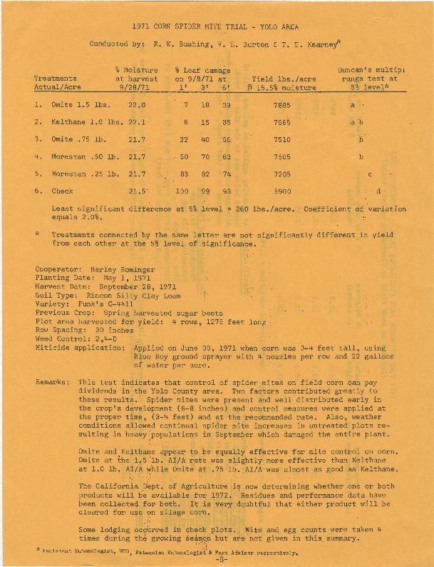 1971 Corn Spider Mite Trial: Yolo Area