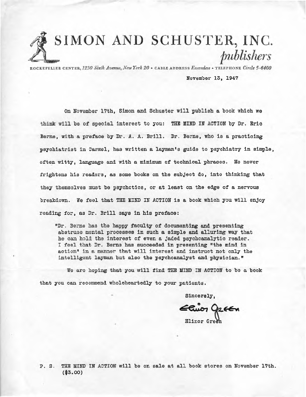 Simon and Schuster Inc. letter announcing publication of The Mind in Action, 1947-11-13