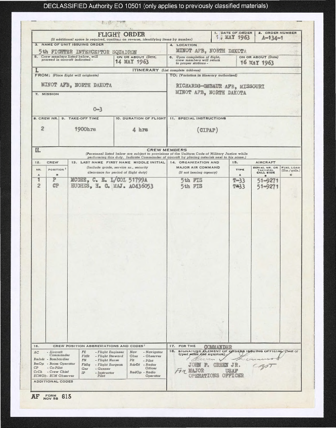 Memorandums, special orders, correspondence, and personnel orders for Charles E. McGee