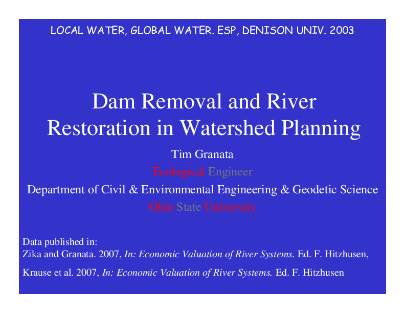 Dam Removal and River Restoration in Watershed Planning