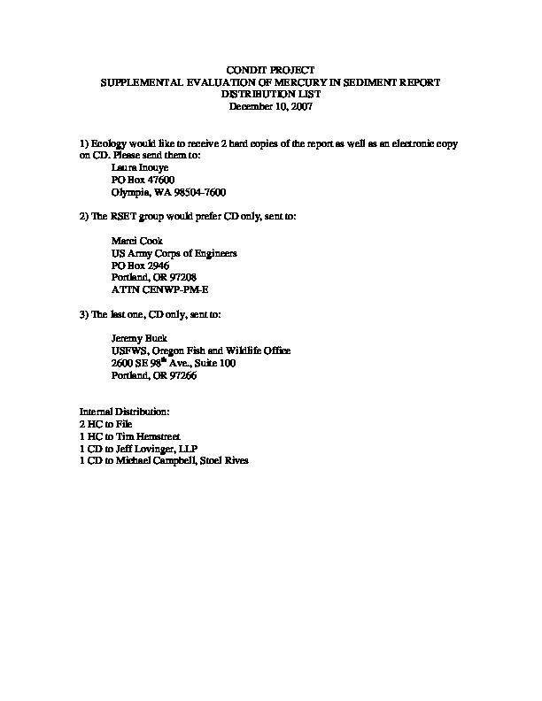 Distribution List for RSET