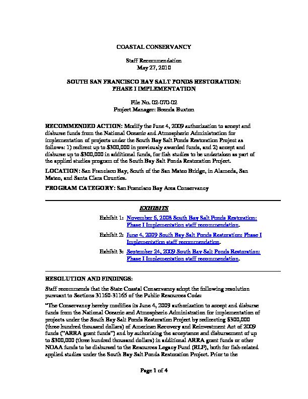 Staff recommendation, May 27, 2010: South San Francisco Bay salt ponds restoration: phase I implementation